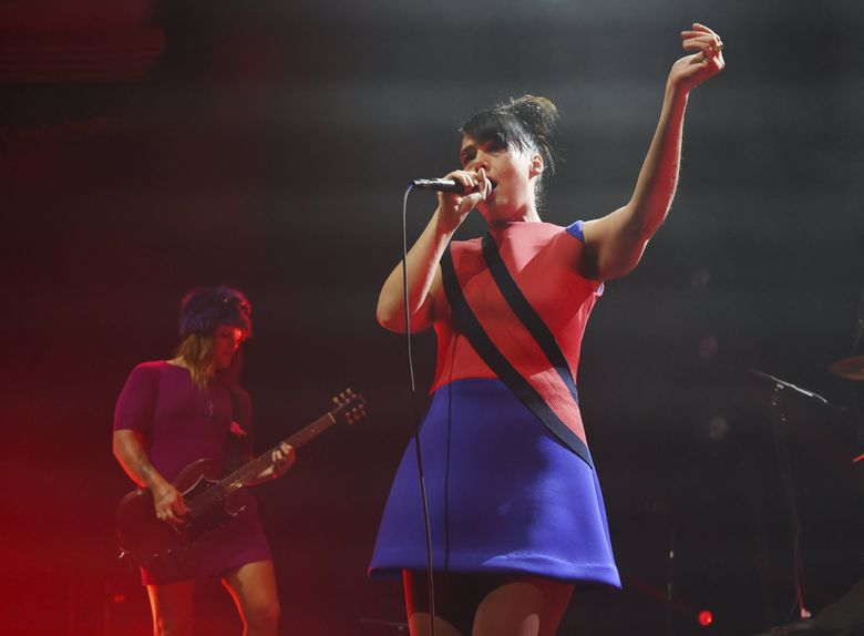 Kathleen Hanna, right, and Erica Dawn Lyle of the punk rock band Bikini Kill perform at the Hollywood Palladium, Thursday, May 2, 2019, in Los Angeles. (Chris Pizzello / Invision / AP)