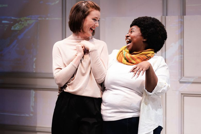 """Jennifer Ewing (left) and Shermona Mitchell in """"White,"""" by James Ijames at 12th Avenue Arts, about a white painter who hires a black actor to impersonate him. (Brett Love)"""