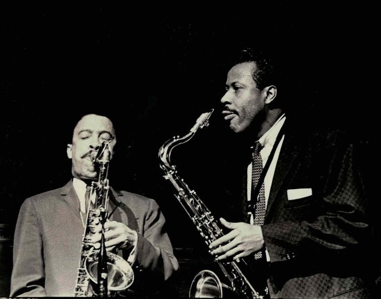"""Dueling tenor saxophonists Johnny Griffin, left, and Eddie """"Lockjaw"""" Davis brought their jazz to The Penthouse in its 1960s pinnacle. The best sets of the day are becoming accessible to the public as previously unreleased recordings are pressed on vinyl.  (Don Schlitten)"""