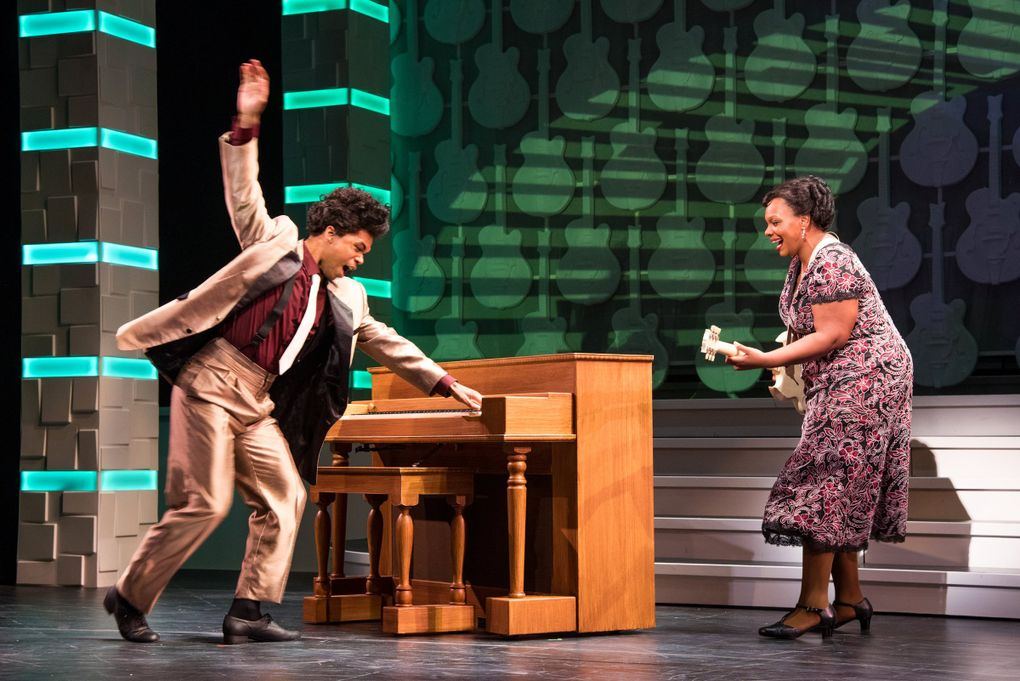 """Christin Byrdsong and Carrie Compere in """"Shout Sister Shout!"""" at Seattle Rep. (Bronwen Houck)"""