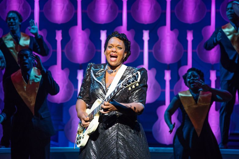 """Carrie Compere as Sister Rosetta Tharpe in """"Shout Sister Shout!"""" at Seattle Repertory Theatre. (Bronwen Houck)"""