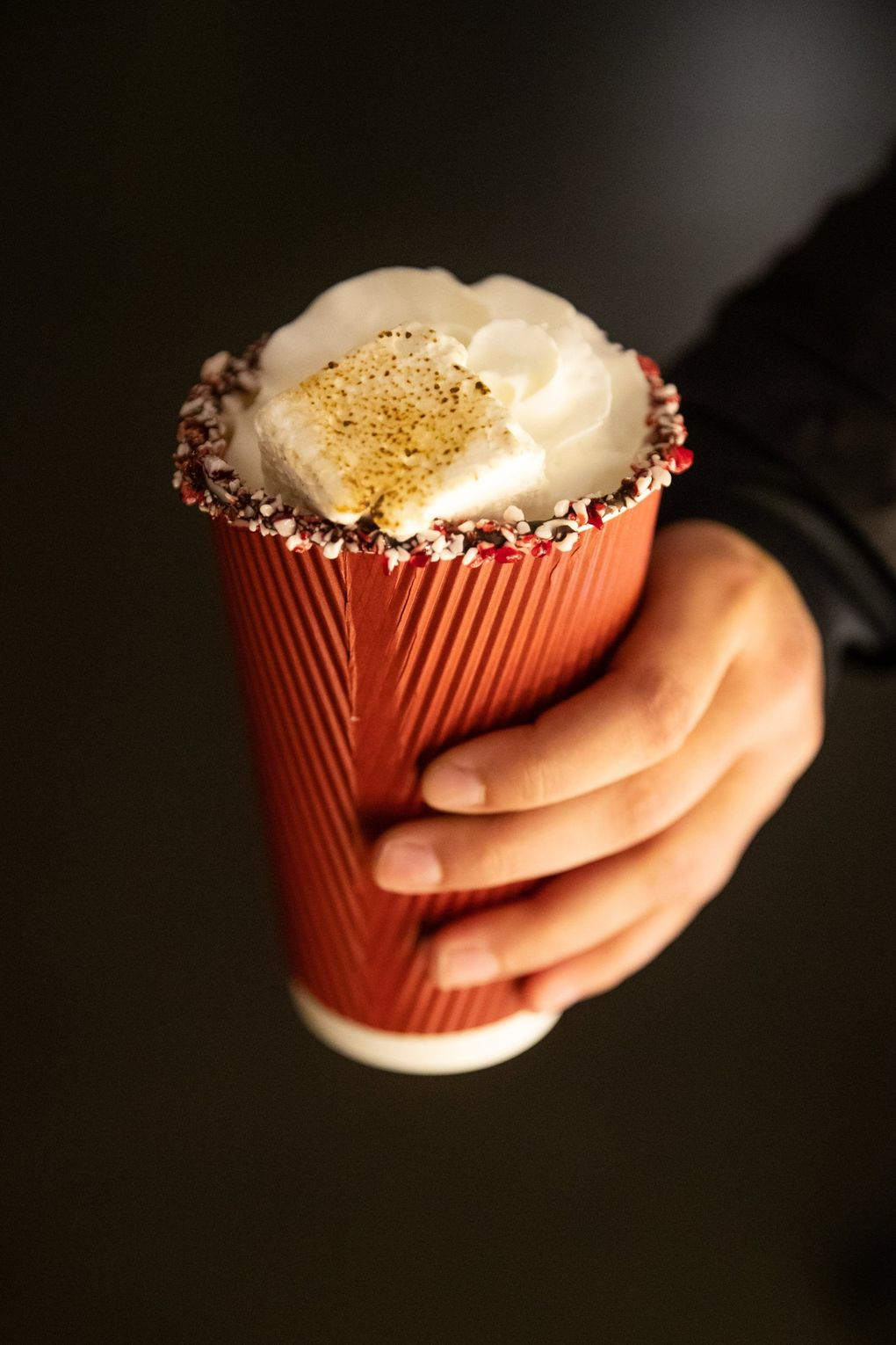 Hot chocolate topped with whipped cream and a toasted marshmallow goes for $8 at Enchant Christmas, which takes over T-Mobile Park through Dec. 29. (Andy Bao / The Seattle Times)