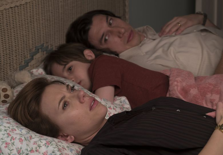 """Scarlett Johansson, Azhy Robertson and Adam Driver play a family torn apart in """"Marriage Story."""" (Wilson Webb)"""