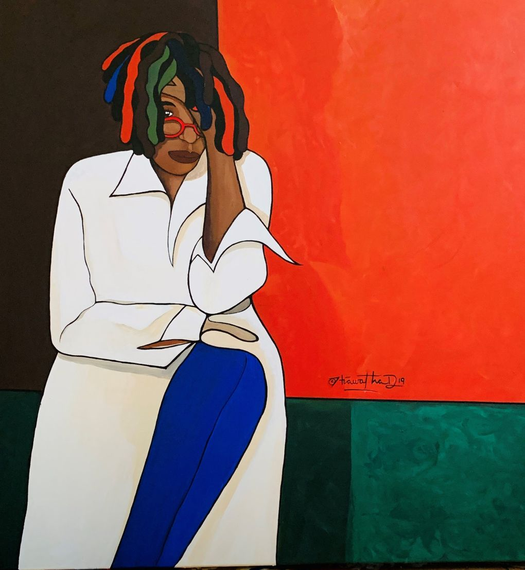"""Hiawatha D.'s painting of Whoopi Goldberg is part of his """"Iconic Black Women: Ain't I a Woman"""" exhibit at Northwest African American Museum, through March 15, 2020.  (Veronica Very Davis)"""
