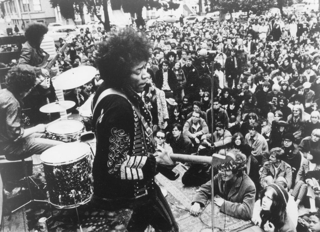 """Jimi Hendrix performs in San Francisco's Golden Gate Park, as seen in the Warner Bros. documentary """"Jimi Hendrix."""" (Warner Bros.)"""