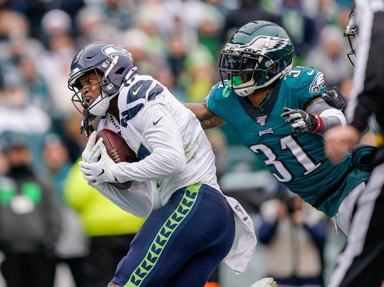 Malik Turner beats Eagles cornerback Jalen Mills for a touchdown in the 1st quarter. The Seattle Seahawks played the Philadelphia Eagles Sunday, November 24, 2019 at Lincoln Financial Field in Philadelphia, PA. (Dean Rutz / The Seattle Times)