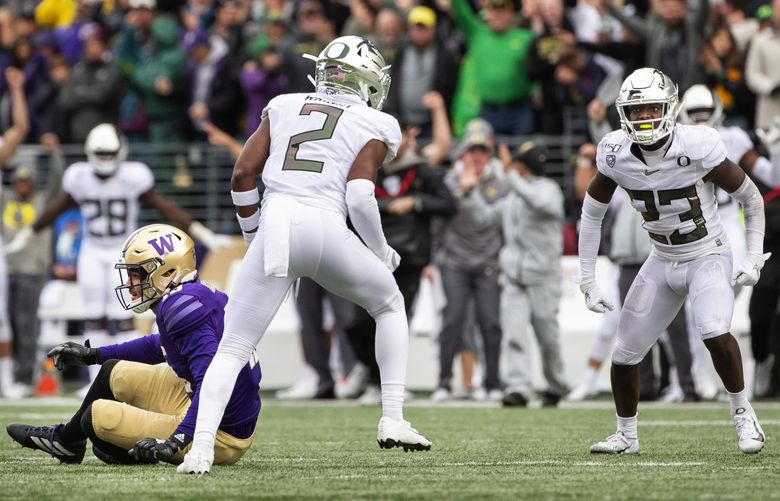 Washington ranks 11th in the Pac-12 and 106th nationally with a third-down conversion rate of 35.35%. The Huskies led the Pac-12 each of the past two years. (Dean Rutz / The Seattle Times)