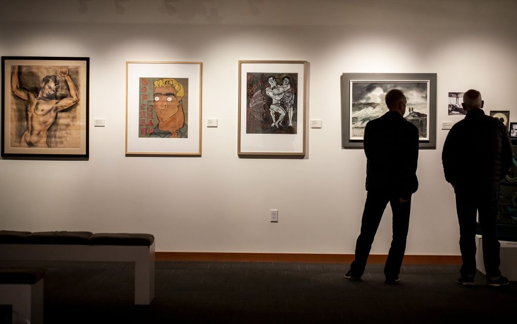 """From left, """"Untitled"""" by artist Delbert J. McBride, """"Bob Crabshaw"""" by Clifford Wright, """"Merry Christmas"""" also by Wright and """"Surf Watchers"""" by Jule Kullberg, all featured at Cascadia Art Museum's """"The Lavender Palette"""" exhibition. (Bettina Hansen / The Seattle Times)"""