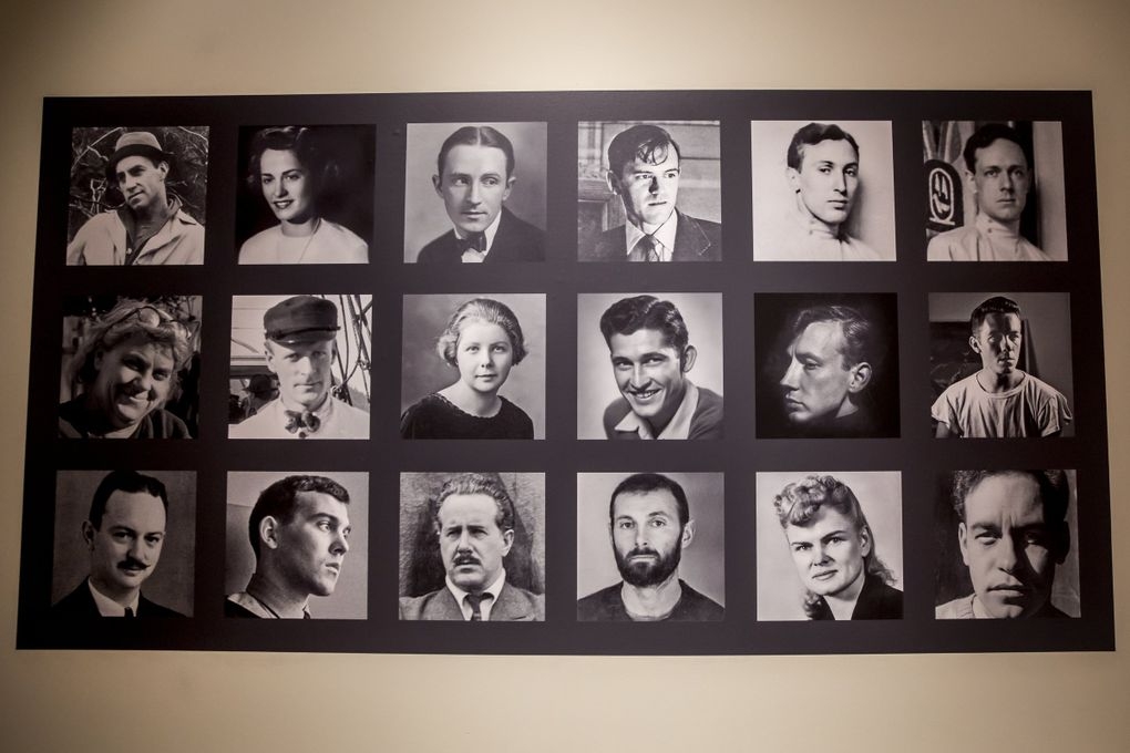 """A collection of portraits of the artists featured in Cascadia Art Museum's new exhibition, """"The Lavender Palette."""" (Bettina Hansen / The Seattle Times)"""