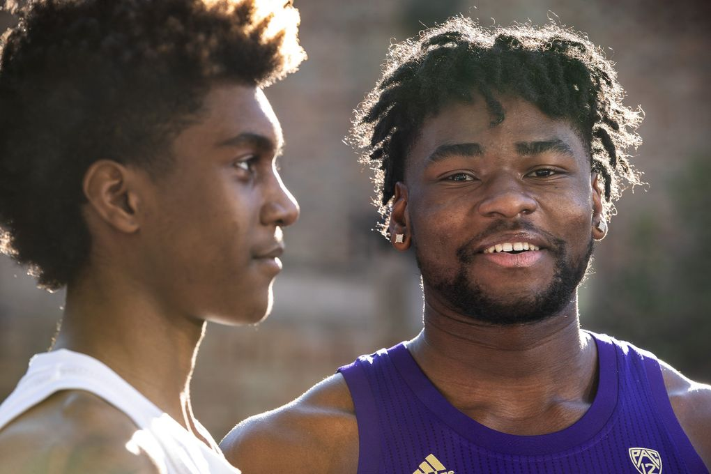Jaden McDaniel, left, and Isaiah Stewart are Washington's fab freshman.  Photographed Friday, Nov 1, 2019. (Dean Rutz / The Seattle Times)