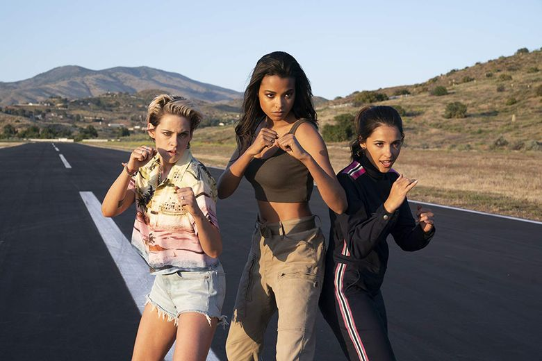 """""""Charlie's Angels"""" features, from left, Kristen Stewart, Ella Balinska and Naomi Scott. (Courtesy of Sony Pictures)"""