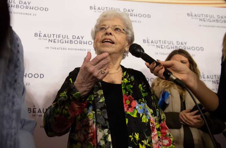 """Joanne Rogers, center, wife of Fred Rogers, attends """"A Beautiful Day in the Neighborhood"""" movie premiere at the Southside Works Cinema on November 20, 2019 in Pittsburgh, Pennsylvania."""