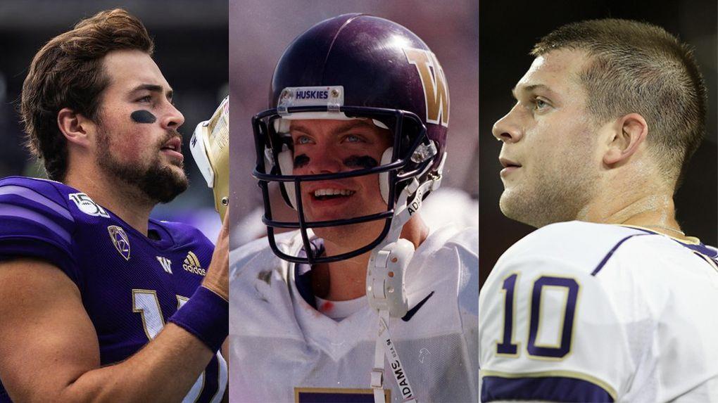 From left to right, UW quarterback Jacob Eason, former quarterbacks Brock Huard and Jake Locker. (Seattle Times file)