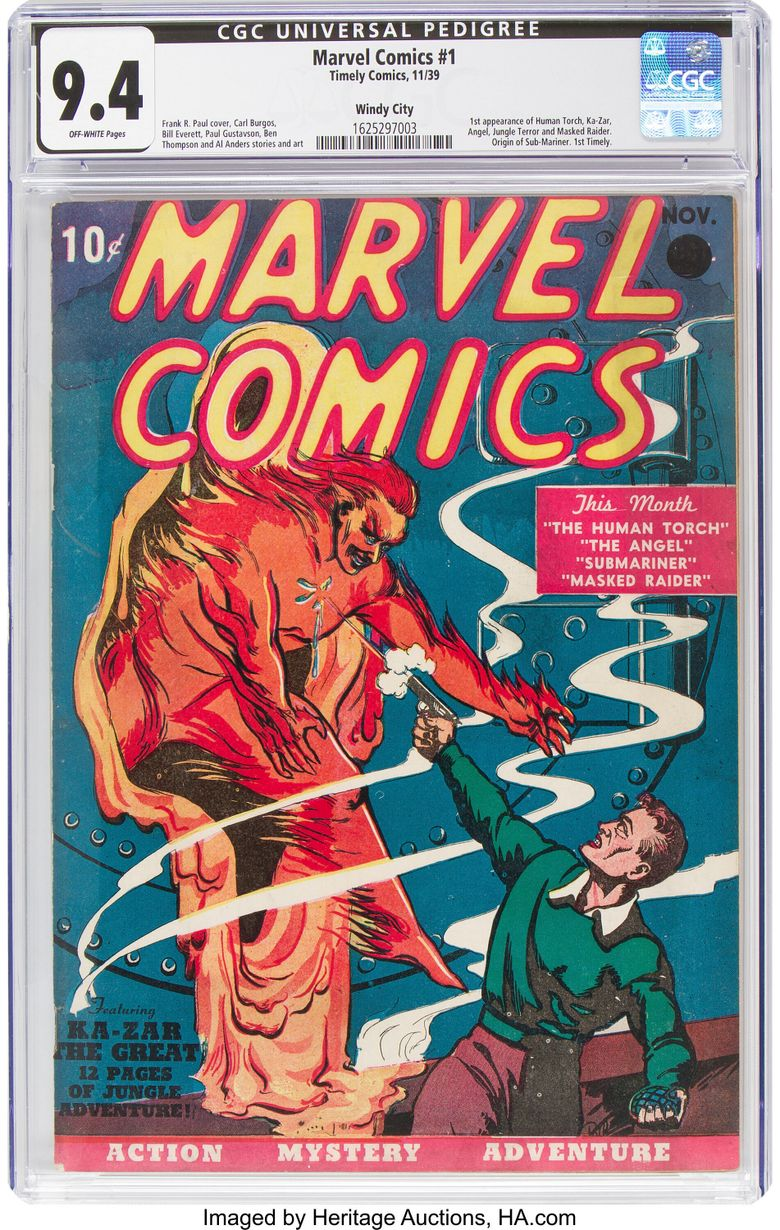 A rare near mint condition copy of the first Marvel Comics comic book is seen. Heritage Auctions says the 1939 comic book sold for $1,260,000 million in 2019. (Heritage Auctions via AP, file)