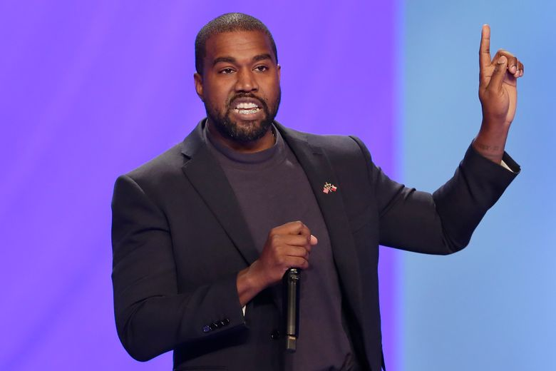 FILE – In this Nov. 17, 2019 file photo Kanye West answers questions from Sr. pastor Joel Osteen during the 11 am service at Lakewood Church, in Houston. West has been denied a permit to build an amphitheater on his ranch in Wyoming. The Park County Planning and Zoning Commission made the decision Tuesday, Nov.19, 2019, after the rapper changed his plans for the structure near Cody. West told county officials he now wants to include residential space. (AP Photo/Michael Wyke,File)