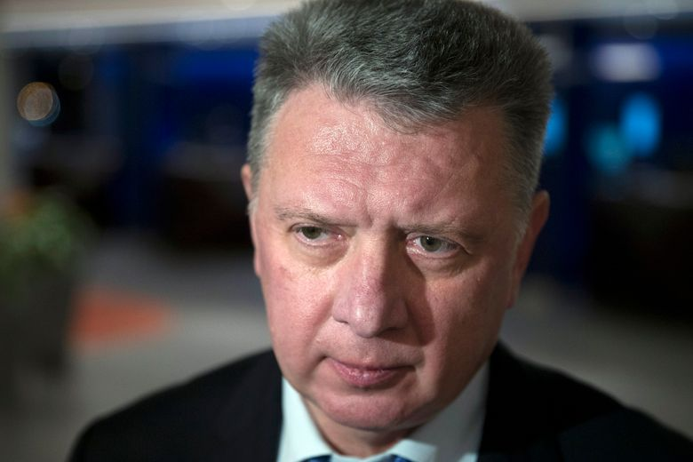 FILE – In this file photo dated Monday, Jan. 23, 2017, the president of the All-Russia Athletic Federation, Dmitry Shlyakhtin, speaks to the media in Moscow, Russia. Dmitry Shlyakhtin was suspended Thursday Nov. 21, 2019, on suspicion of obstructing an anti-doping investigation in a blow to Russia's preparations for the 2020 Olympics.  (AP Photo/Pavel Golovkin, FILE)