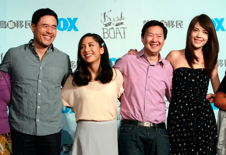 """FILE – In this Aug. 5, 2016 file photo, Randall Park, from left, Constance Wu, Ken Jeong and Ann Hsu pose for photographers during a media event announcing their comedy series """"Fresh off the Boat"""" in Taipei, Taiwan. ABC's """"Fresh Off the Boat"""" is coming to an end after six seasons. The network said Friday, Nov. 8, 2019,  the comedy about an Asian American family in the 1990s will wrap with an hour-long finale.  The last episode will air Feb. 21. (AP Photo/Chiang Ying-ying, File"""