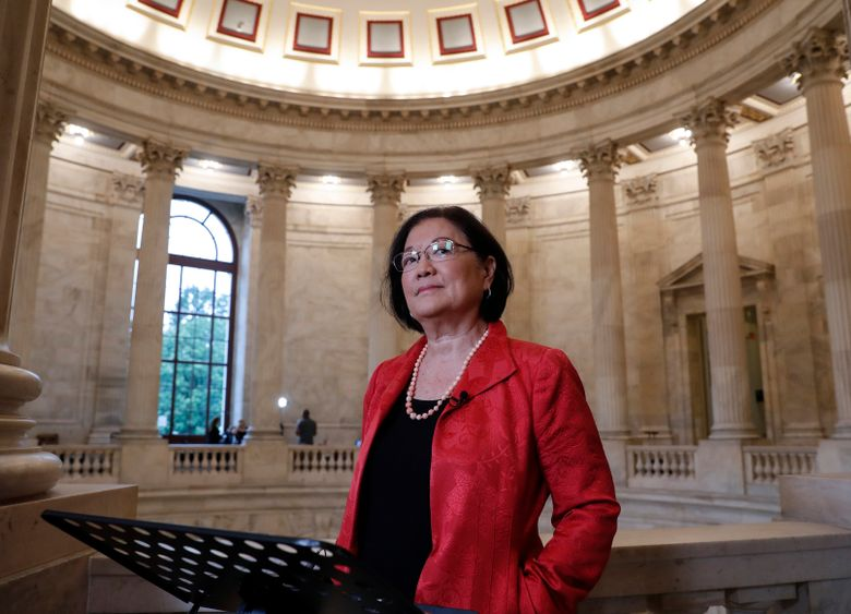 FILE – This Sept. 25, 2018 file photo shows Sen. Mazie Hirono, D-Hawaii, at Capitol Hill in Washington.  Hirono, the Senate's first Asian-American woman and only current immigrant, is working on a memoir. Viking announced Tuesday that the book, currently untitled, will come out in 2021. Hirono, 72, will write about emigrating at age 8 to the United States after her mother fled an abusive marriage in Japan. (AP Photo/J. Scott Applewhite, File)
