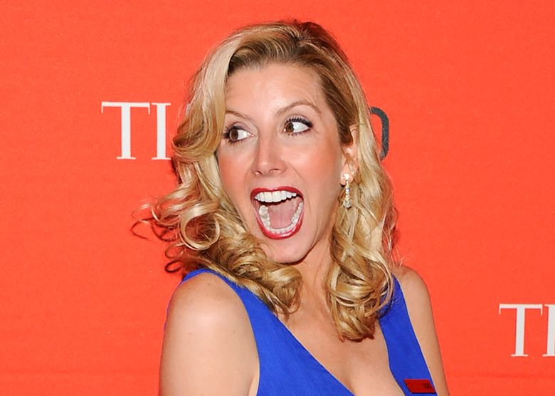 """FILE – In this April 24, 2012 file photo, Spanx founder Sara Blakely attends the TIME 100 gala, celebrating the 100 most influential people in the world, at the Frederick P. Rose Hall  in New York.  Blakely was the successful bidder for the skintight satin pants that Olivia Newton-John wore in the movie """"Grease."""" She  told """"CBS This Morning"""" Tuesday, Nov. 5, 2019 she plans to frame them and hang them at Spanx because they inspired the company's black faux-leather leggings.  (AP Photo/Evan Agostini, File)"""