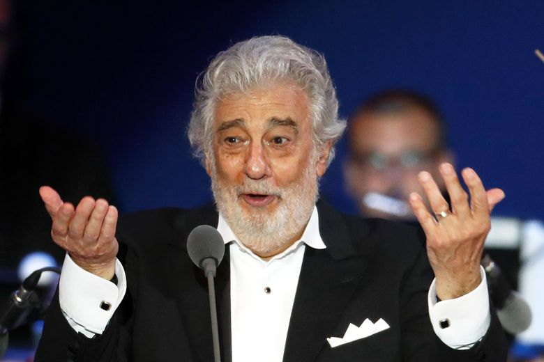 """FILE – In this Aug. 28, 2019, file photo, opera star Placido Domingo performs during a concert in Szeged, Hungary. Domingo is scheduled to sing two concert performances in Verdi's """"I Vespri Siciliani (The Sicilian Vespers)"""" next summer as part of the 100th anniversary Salzburg Festival, which features 221 performances over 44 days and includes seven staged operas. (AP Photo/Laszlo Balogh, File)"""