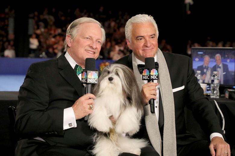 This image released by NBC shows David Frei, left, and host John O'Hurley posing with a havanese dog at The National Dog Show in Philadelphia. The annual parade of pooches has become one of the highest-rated shows of Thanksgiving. (Bill McCay/NBC via AP)