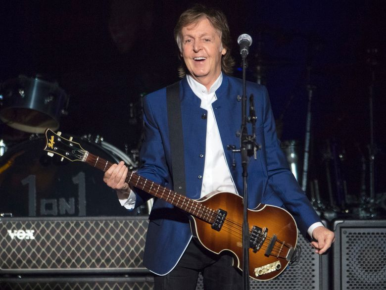 FILE – In this Monday, July 10, 2017 file photo, Paul McCartney performs at Amalie Arena in Tampa, Fla. USA. Paul McCartney has snagged the coveted Saturday-night headline slot at Glastonbury next year as the British music festival celebrates its 50th birthday. Festival organizers confirmed Monday, Nov. 18, 2019 that the former Beatle will perform on the main Pyramid Stage on June 27. (AP Photo/Scott Audette, file)