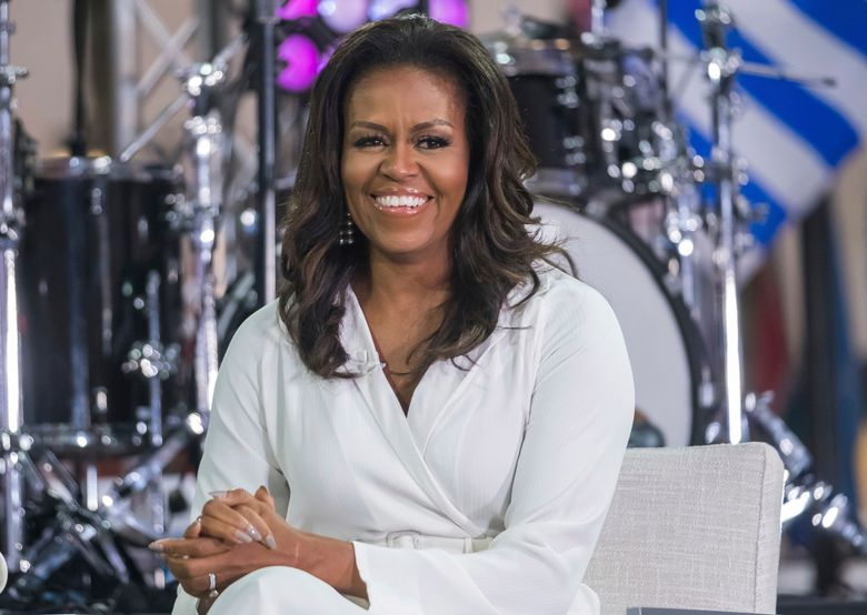 """FILE – In this Oct. 11, 2018, file photo, Michelle Obama participates in the International Day of the Girl on NBC's """"Today"""" show in New York.  The former first lady announced that Selena Gomez, Liza Koshy, Shonda Rhimes, Megan Rapinoe, Tracee Ellis Ross and Kerry Washington have signed on as co-chairs of the national organization When We All Vote.  The announcement Thursday, Nov. 7, 2019 marks a year until the date of the 2020 elections, which includes the presidential race. (Photo by Charles Sykes/Invision/AP, File)"""