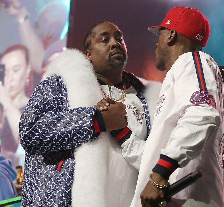 FILE – In this June 1, 2018, file photo, DJ Eric B and rapper Rakim shake hands after performing at the Yo! MTV Raps: 30TH Anniversary Experience at the Barclays Center in New York. Rapper and actor Eric B. was sentenced to a year's probation Friday, Nov. 22, 2019, stemming from a motor vehicle stop and police chase that occurred nearly 19 years ago but wasn't resolved because he failed to show up for his sentencing. The 54-year-old New York City native apologized during a brief statement to the court. (Photo by Donald Traill/Invision/AP, File)