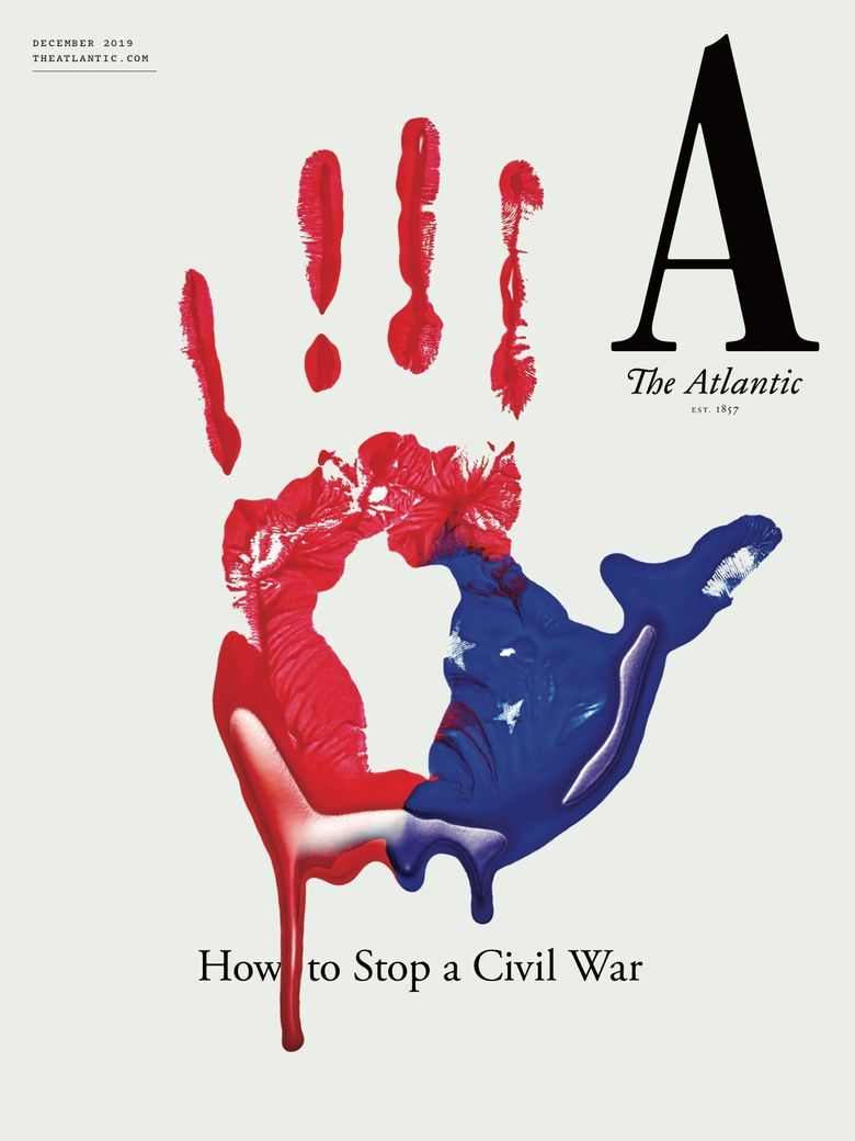 """This cover image released by The Atlantic shows their December issue """"How to Stop a Civil War."""" The issue heads to newsstands and its articles will be posted online Tuesday. (The Atlantic via AP)"""