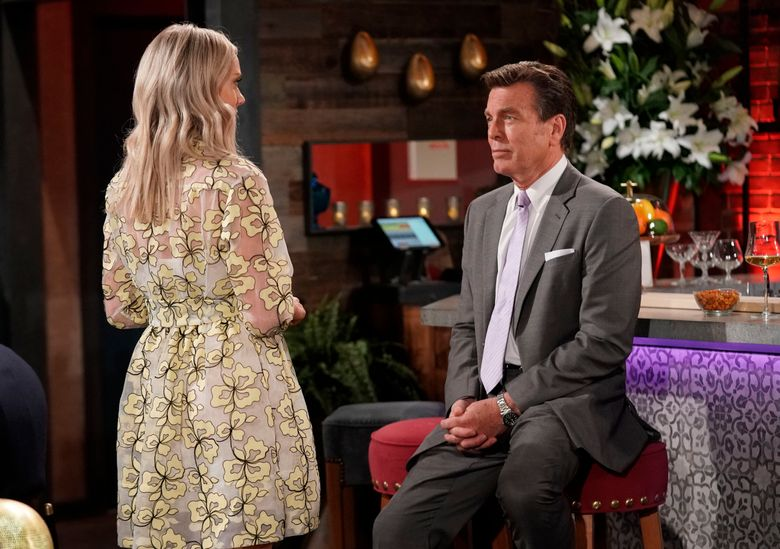 """This image released by CBS shows Peter Begman, who portrays Jack Abbott with co-star Melissa Ordwat, who portrays his niece  Abby Newman on the long-running daytime drama """"The Young and the Restless."""" (Sonja Flemming/CBS via AP)"""