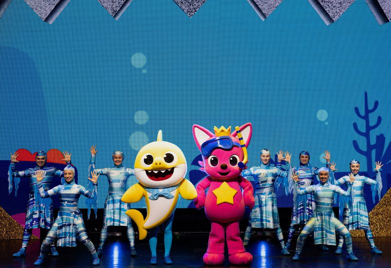 This Oct. 2, 2019 photo released by Baby Shark Live! shows the cast of the Baby Shark Live! tour which is launching a new set of concert dates after recently wrapping up dozens of performances in its first run in North America.  The second leg of the tour kicks off in Independence, Missouri on March 1. (Baby Shark Live! via AP)