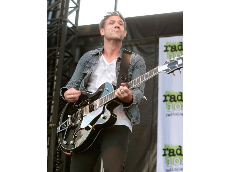 """FILE – This May 3, 2015 file photo shows Mikel Jollett of The Airborne Toxic Event performing in concert during the Radio 104.5 Summer Block Party in Philadelphia. Celadon Books announced Tuesday that Jollett's  memoir, """"Hollywood Park,"""" also the title of the band's next album, will come out May 5. (Photo by Owen Sweeney/Invision/AP, File)"""