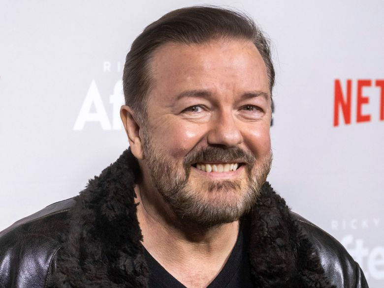 """FILE – In this Thursday, March 7, 2019, file photo, Ricky Gervais attends a screening of Netflix's """"After Life"""" at the Paley Center for Media in New York. Gervais is returning to host the Golden Globe Awards. Gervais is returning to host the Golden Globe Awards, which will be held at the Beverly Hilton Hotel on Jan. 5, 2020 and aired live on NBC. (Photo by Charles Sykes/Invision/AP, File)"""
