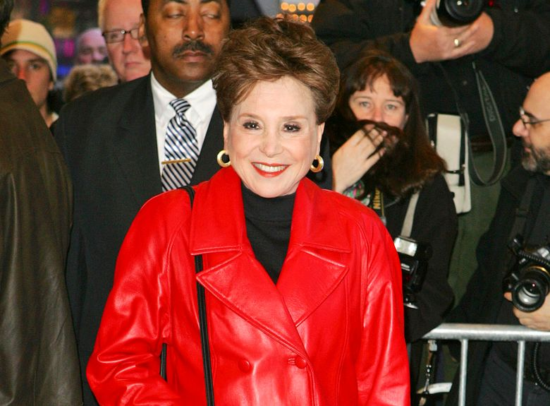"""FILE – This April 9, 2006 file photo shows New York Post  columnist Cindy Adams at the opening night of the Broadway play """"Festen,"""" in New York. Adams will be the subject of a Showtime documentary series in 2021 with Brian Grazer and Ron Howard executive producing. (AP Photo/Dima Gavrysh, File)"""