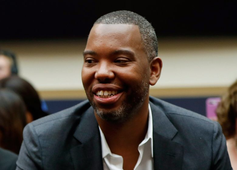 """FILE – In this Wednesday, June 19, 2019, file photo, author Ta-Nehisi Coates attends a hearing at the Capitol in Washington. Coates' first novel, """"The Water Dancer,"""" is among the nominees for an Andrew Carnegie Medal for Excellence. Winners will be announced Jan. 26, 2020. (AP Photo/Pablo Martinez Monsivais, File)"""