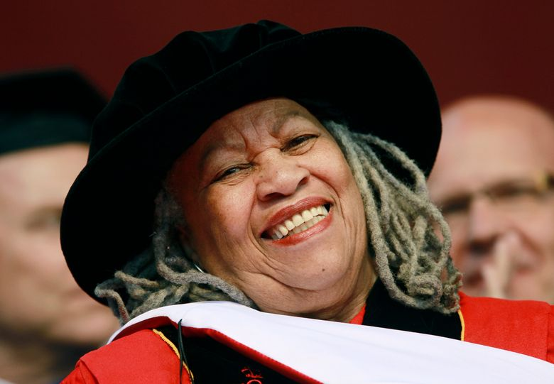 FILE – In this May 15, 2011 file photo, Pulitzer and Nobel Prize-winning author Toni Morrison smiles after delivering a speech during the Rutgers University commencement ceremony, in Piscataway, N.J. Oprah Winfrey, Ta-Nehisi Coates and Jesmyn Ward will be among the speakers at a tribute to the late Morrison. The Nobel laureate's longtime publisher, Alfred A. Knopf, announced Tuesday, Nov. 12, 2019,  that the event will take place Nov. 21 at the Cathedral of St. John the Divine, in Manhattan. (AP Photo/Julio Cortez, File)