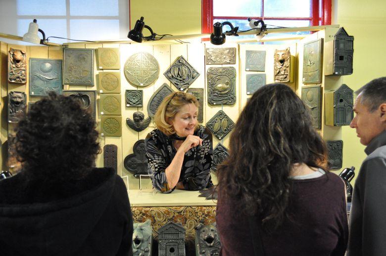 Linda Thorson, of Linda Thorson Design, at the 2017 Phinney Neighborhood Association Winter Festival & Crafts Fair. (Breanne Durham)