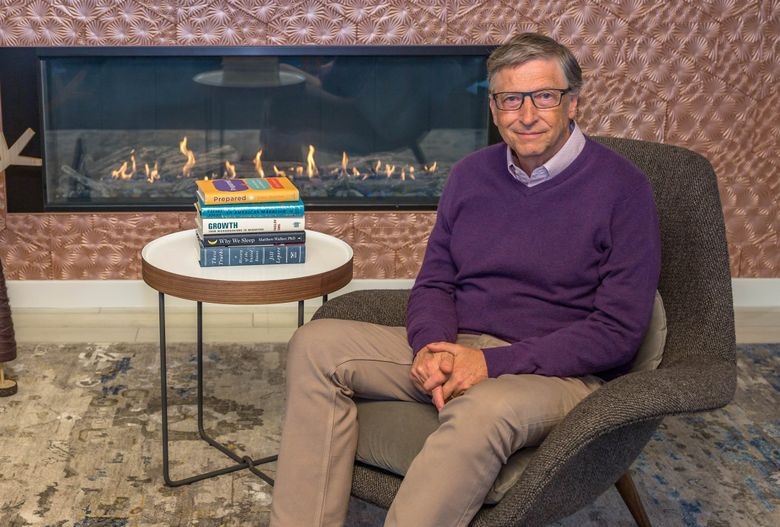 Bill Gates with some of his book recommendations for 2019. (Gates Notes LLC)