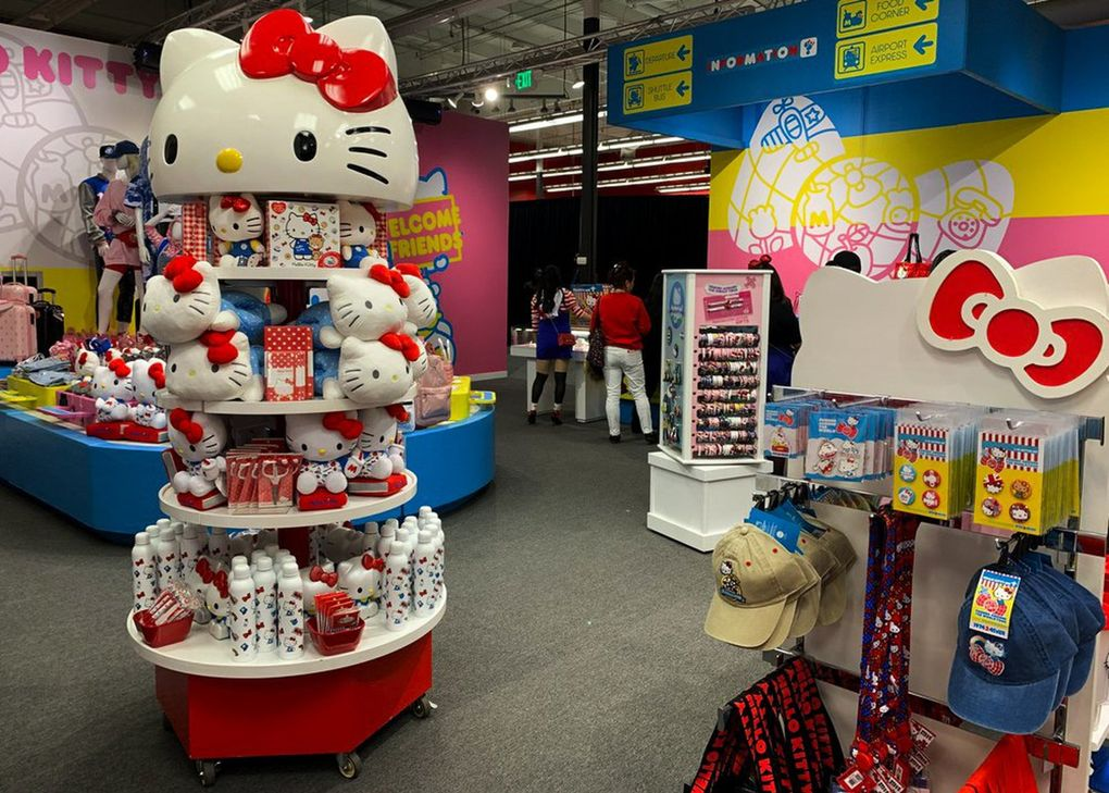The gift shop at the end of the tour has plenty of Hello Kitty merchandise. (Yasmeen Wafai / The Seattle Times)