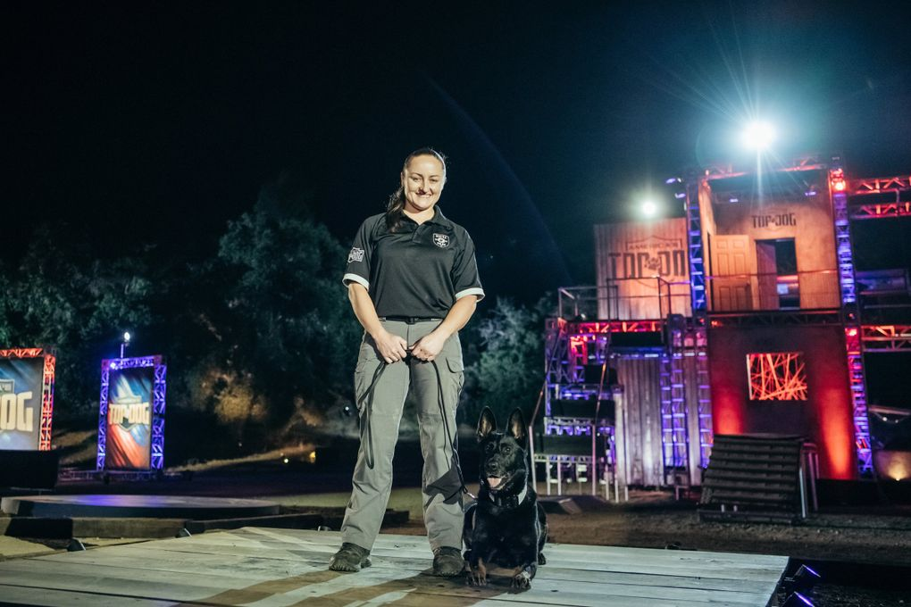 """Seattle Police Department K-9 Pele and officer T.J. San Miguel will compete in the new A&E series """"America's Top Dog."""" (Nico Therin/A&E 2019)"""
