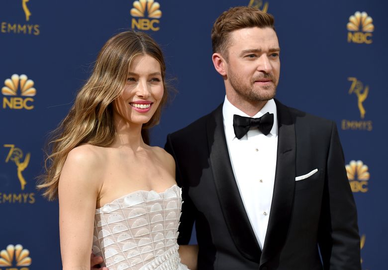 """FILE – In this Sept. 17, 2018 file photo Jessica Biel, left, and Justin Timberlake arrive at the 70th Primetime Emmy Awards in Los Angeles. Timberlake has publicly apologized to his actress-wife Jessie Biel weeks after he was seen holding hands with the co-star of his upcoming movie. The pop star and actor wrote on Instagram, Wednesday, Dec. 4, 2019, that he prefers to """"stay away from gossip as much as I can, but for my family I feel it is important to address recent rumors that are hurting the people I love."""" (Photo by Jordan Strauss/Invision/AP, File)"""