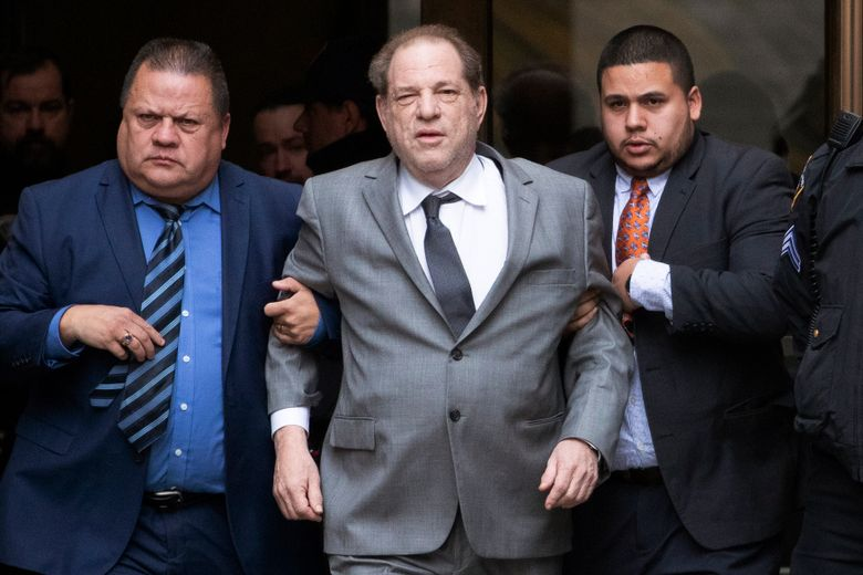 FILE – This Dec. 6, 2019 file photo shows Harvey Weinstein, center, leaving court following a bail hearing in New York. A former model who accused Weinstein last year of sexually abusing her when she was 16 filed a new lawsuit against him Thursday, Dec. 19, saying she didn't want to be included in a proposed global settlement that would split $25 million among various accusers. (AP Photo/Mark Lennihan, File)