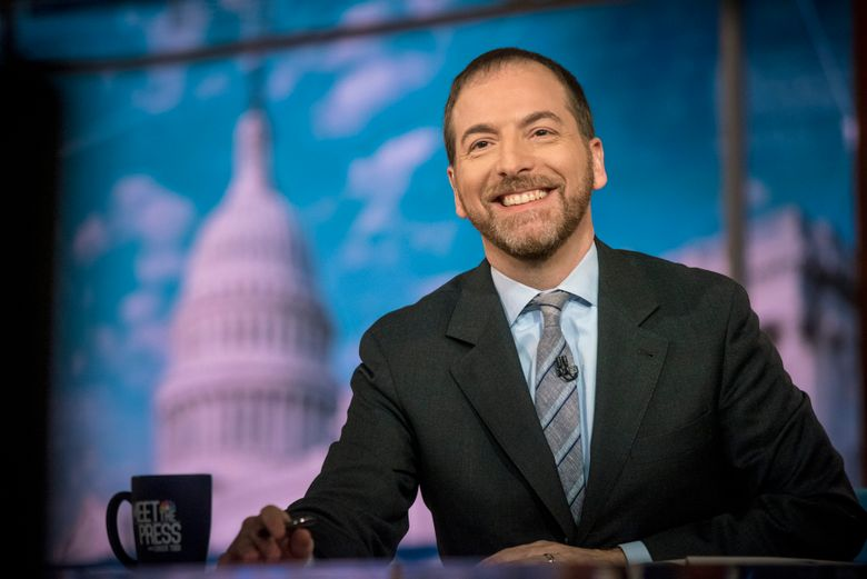 """In this Nov. 17, 2019 photo released by NBC, Moderator Chuck Todd appears on """"Meet the Press"""" in Washington. A special """"Meet the Press"""" episode on disinformation in politics is scheduled for Dec. 29. Marty Baron, executive editors of The Washington Post, and Dean Baquet, of The New York Times, are scheduled to be interviewed. (William B. Plowman/NBC via AP)"""
