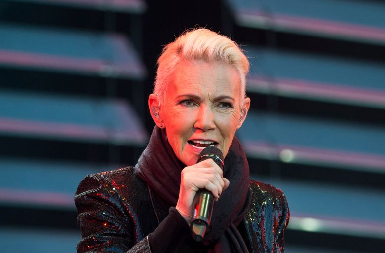 FILE – In this file photo dated July 18, 2015, Marie Fredriksson, singer of the pop duo Roxette.  Fredriksson has died, aged 61 after a long illness, according to an announcement Tuesday Dec. 10, 2019.  (Suvad Mrkonjic / TT via AP)
