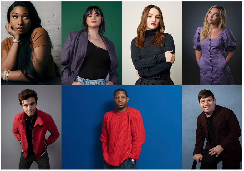 This combination photo shows, top row from left, Megan Thee Stallion, Barbie Ferreira, Kaitlyn Dever, Florence Pugh, bottom row from left, Jack Quaid, Jonathan Majors and Zack Gottsagen, who were named breakthrough artists of the year by the Associated Press. (AP Photo)