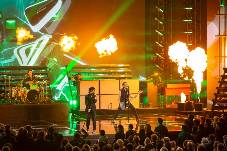 Green Day preforms at the 2019 Game Awards on Dec. 12 in Los Angeles. (Photo for The Washington Post by Chloe Aftel).