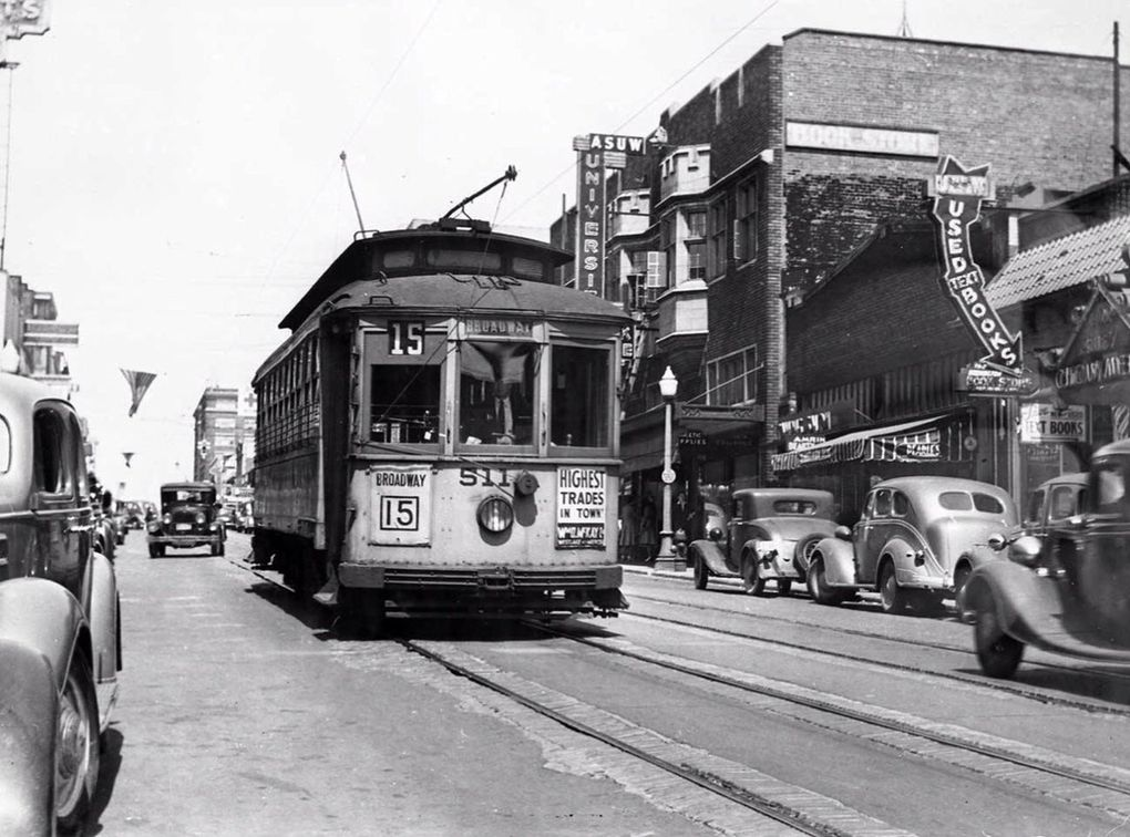 In this 1939 photo, you can see the new 1930s facade of the University Book Store, just behind the streetcar. (Courtesy of University Book Store)