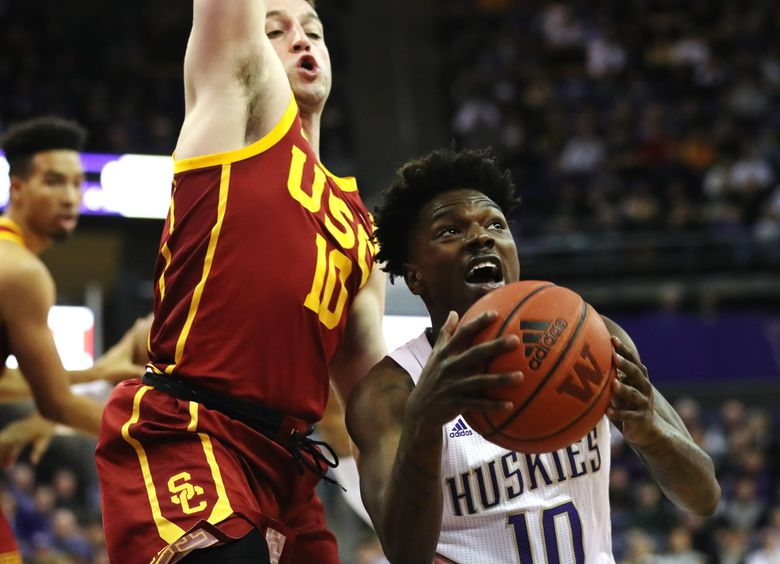 Washington Huskies guard Elijah Hardy looks for an open shot during a game against USC Trojans on Jan. 5, 2020 at Alaska Airlines Stadium. (Amanda Snyder / The Seattle Times)