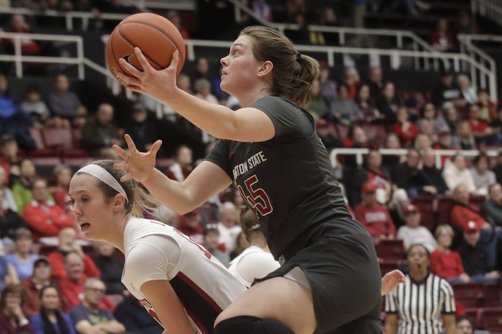 Washington State forward Borislava Hristova (45) shoots against Stanford guard Lexie Hull during the first half of an NCAA college basketball game in Stanford, Calif., Friday, Jan. 3, 2020. (AP Photo/Jeff Chiu) PAL103 PAL103 (Jeff Chiu / The Associated Press)