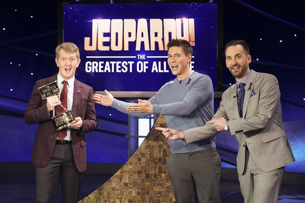 """Ken Jennings won the """"Jeopardy! The Greatest of All Time"""" trophy against other big winners James Holzhauer and Brad Rutter. (Eric McCandless / ABC)"""